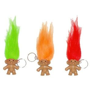Troll Figure With Hair Keyring Funny Pencil Topper Fun Keychain Party Bag Filler