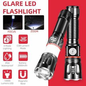 10000 Lumen LED Zoombare Taschenlampe 4 Modi COB Beleuchtung USB Wiederaufladbar