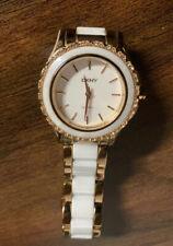 """Nice DKNY NY8821 Women's Ladies Rose Gold Tone , White Analog Watch Size 7"""" Used"""