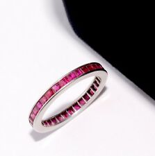 Ruby Eternity Band Wedding Ring Stackable 18k White Gold 1.20 Carats Size 5 1/2