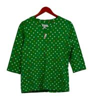 Denim & Co. Women's Top Sz XS Perfect Jersey 3/4 Sleeve Polka Dot Green A251380