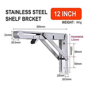 Folding Shelf Brackets Heavy Duty Stainless Steel Collapsible Wall Mounted