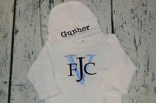 Monogrammed Sleeper Romper and Hat Set size 0-3 Month, Personalized Baby Outfit
