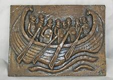 Viking Oarsman Plaque - Cold Cast Bronze Resin Sculpture by John Rattenbury