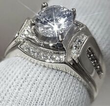 MEN'S 1.64 CARAT SPARKLY SIMULATED MOISSANITE SILVER RING SIZE 9+1/2