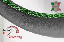 FOR SAAB 9-5 AERO 11-11 BLACK LEATHER STEERING WHEEL COVER GREEN STIT