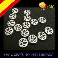 2X EMBLEMA LOGO VW PEGATINA LLAVE 14 MM  MANDO LLAVE VOLKSWAGUEN GOLF POLO PLATA