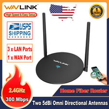 N300 WiFi Router Wireless Ethernet WAN/LAN Ports 10/100Mbps 2x5dBi Antennas WPS