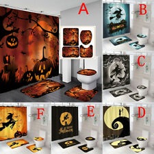 Halloween Pumpkin Witch Bathroom Shower Curtain Bath Rugs Toilet Seat Cover Sets