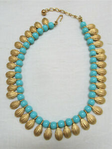 Crown Trifari Cleopatra Egyptian Revival Gold Tone Turquoise Blue Necklace