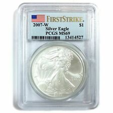 2007-W  AMERICAN SILVER EAGLE DOLLAR, PCGS Certified MS69, WEST POINT MINT #3