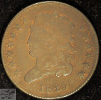 1825 Classic Head Half Cent, Very Fine Details, Porous, Free Shipping, C5000