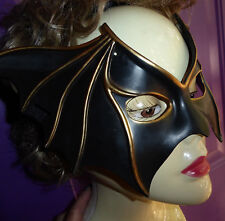 Black Bat Women or Man Mask Adult Size Costume Elastic Back & Gold Halloween NIP