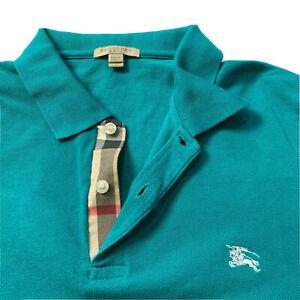 Mens Burberry Bit Check  Polo Shirt Short Sleeve Oxford Sz L Classic Fit Green