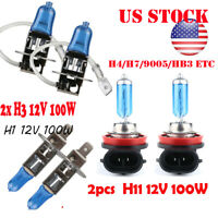 1Pair H4 H7 H1 H3 H11 H13 9004 9005 9006 Gas Halogen Light Lamp Bulb 55W/100W US