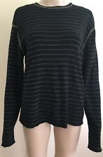 Banana Republic Medium Black Yellow Gold Striped Crew Neck Casual Sweater Men's