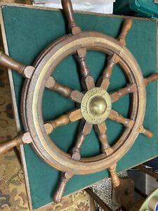 Antique Ships Wheel Oak And Brass