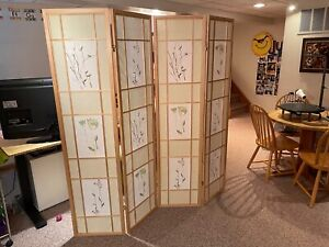 4 Panel Natural Color Folding Screen Room Divider Floral   2-way Double Hinges