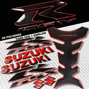 "2-TONE CHROMED RED PRO GRIP FUEL TANK PAD+8"" 3D SUZUKI LOGO+GSXR EMBLEM STICKER"
