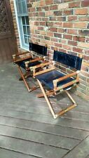 2 Black Leather McGuire Director's Chairs (X Chair) - Bamboo, Oak, and brass.