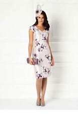 Nuevo Vestido de ostra perla Shantung Jacques Vert púrpura desenfoque Floral Gorra RRP £ 149