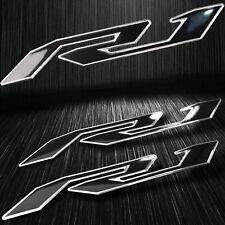 "5-3/4""Emblem 3D Decal Fender/Fairing Logo Sticker YZF-R1/R1S Black/Chrome Silver"