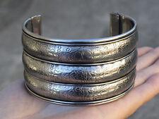 Giant Indian Copper Aucpicious Symbol Engraved 3 Bulging Band Cuff Bracelet