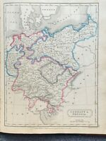 1829 GERMANY HAND COLOURED ORIGINAL ANTIQUE MAP BY SIDNEY HALL 191 YEARS OLD