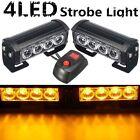 2pcs 12V Car 4 LED Emergency Warning Hazard Flash Strobe Grill Light Bar Amber