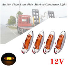4x Truck Trailer Amber Clear Lens Side  Marker Clearance Light 12LED Waterproof