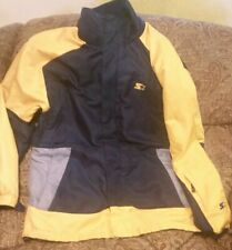 MENS STARTER ATHLETIC JACKET M 38-40, ZIPPER, NAVY WITH YELLOW TRIM NO HOOD