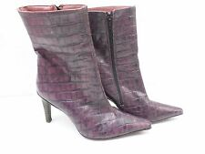 PLANISPHERE PURPLE LEATHER  CALF HEEL FASHION BOOT SZ 37 made in italy AUS 6 T31