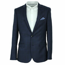 Harry Brown Slim Fit Two Piece Suit in Navy Check 36 to 48 52694L0085