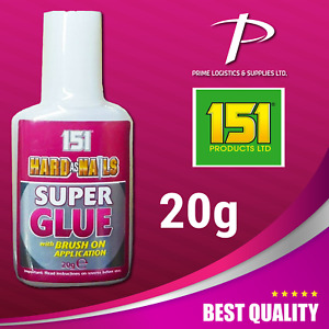 151 Hard As Nails Super Glue 20g with Brush On Precision Application Superglue