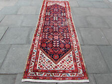 Antique Traditional Hand Made Persian Oriental Blue Wool Long Runner 296x100cm