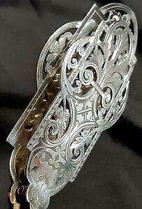 Superb Late Victorian Silver Plated Bovine Bone Handled Asparagus Servers