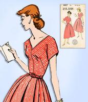 1950s Vintage New York Sewing Pattern 1607 Uncut Misses Rockabilly Dress Sz 34 B