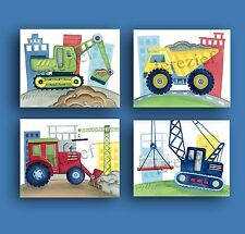 CONSTRUCTION CAR TRUCK BUSY BUILDER BABY BOY NURSERY WALL ART DECOR picture