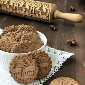 Christmas Wooden Rolling Pin Embossing Engraved Dough Roller Xmas Baking Cookies