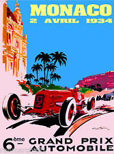 1934 6th Monaco Grand Prix Automobile Race Car Advertisement Vintage Poster