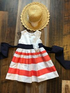 HARTSTRINGS Dress And Straw Hat Size 2T