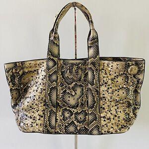TORY BURCH Ella Tan Brown Snake Skin Animal Print Leather Eyelet Detail Tote Bag