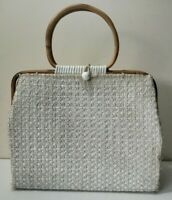 Vintage 1960s Woven Clutch Handbag with Wooden Bamboo Handle White Boho Mod