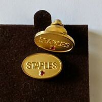 2 Staples Employee Recognition Award Lapel Pins Gold