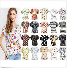 █ Women Blouse Casual Floral Shirt Loose Summer Chiffon Top T-shirt Short Sleeve