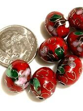 One Vintage Chinese Enamel Beautiful Cloisonne Red Oval Bead Flowers 9mm x 11mm