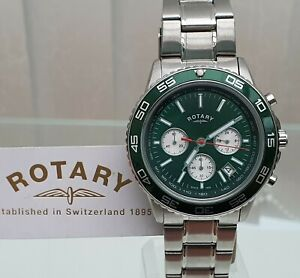 Rotary Mens Chronograph, Luminous hands Green dial RRP£250 NEW Boxed (r121