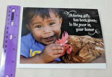 Food For The Poor Gift Made In Your Honor Unused Card Boy & Chicken Collectible