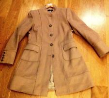 NEW ZARA wool 67% & angora 15% beige fitted coat  UK L Never Worn RRP £109