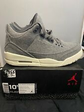 "2017 Retro Air Jordan 3 ""Wool"" Size 10.5 DARK GREY SAIL 854263 004"